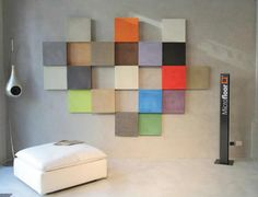 Italy's Microfloor showroom. Frames covered with different shades of Microfloor. Floor and Walls.