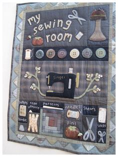 Sewing room appliqué quilt