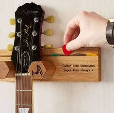 Personalised Guitar Stand And Plectrum Holder By Mij Moj Design | notonthehighstreet.com Banjo, Ukulele, Guitar Wall Stand, Super Dad, Funny Messages, New Home Gifts, Music Lovers, Acoustic Guitar, Solid Oak