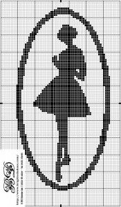 Dancers Silhouette Cross Stitch Chart