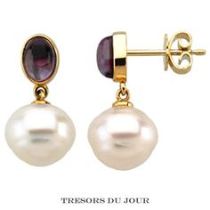 Real Amethyst Drop Earrings with South Sea Pearls with Oval AmethystCabochons in 14k yellow gold;  by TresorsDuJour