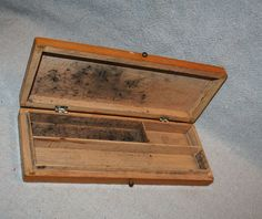 Beautiful Wood Box Pencil Holder Rose Storage by AVintageSeason, $12.75