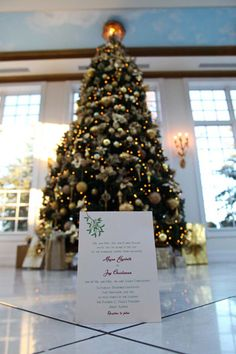 Instead of a traditional guest book, have each guest sign an ornament with his or her name and a wish or piece of advice for the newlyweds. These wonderful keepsakes will remind you of your wedding day as you decorate your Christmas tree together each year.