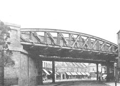 Leamington Spa Station: View of the replacement bridge built in 1907 as seen from the Old Warwick Road end of the High Street Places Of Interest, Sydney Harbour Bridge, Engineering, Old Things, Spa, British, England, Street, Building