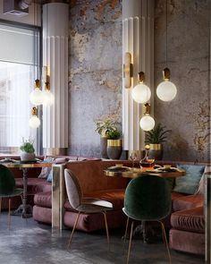 Soft textures and moody lighting. Love all the velvet. #commercialdesign #interiordesign