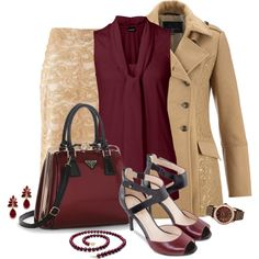 Office outfit: Nude - Burgundy