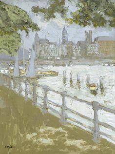 """lawrenceleemagnuson: """"Édouard Vuillard (1868-1940) View of Binnenalster (1913) gouache on paper 74 x 55,2 cm """""""