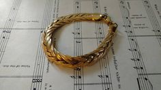 Retro 1980's Gold Tone Braided Bracelet by Monet  Regency