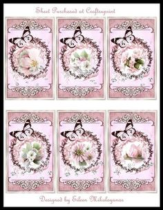 Circle of Love Valentine Tags for Toppers/Inserts by Eileen Mikolayunas Each of these Cottage Chic Valentine Embellishments features SIX  2.50