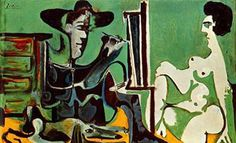 El pintor y su modelo de Pablo Picasso Medio: óleo sobre lienzo