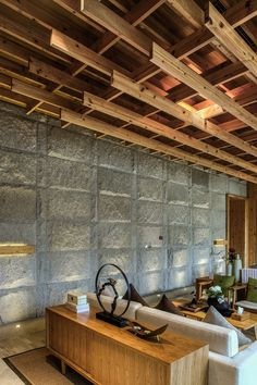 The Guigu SPA Pavilion in Fuzhou, China - Wood and stone have been used throughout this spa in China.