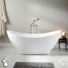 65 Genoa Acrylic Double Slipper Air Tub Deep Bathtub Clawfoot Bathroom
