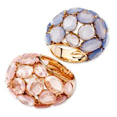 Pomellato Capri 18K Rose Gold Chalcedony and Pink Quartz Rings