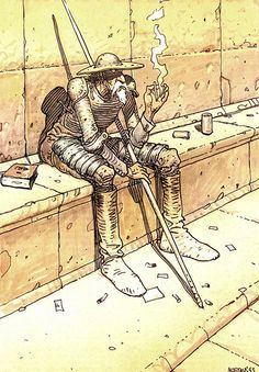 Don Quixote by Jean Giraud Moebius Jean Giraud, Comic Book Artists, Comic Artist, Comic Books Art, Alphonse Mucha, Fabio Moon, Calvin E Hobbes, Moebius Art, Moebius Comics