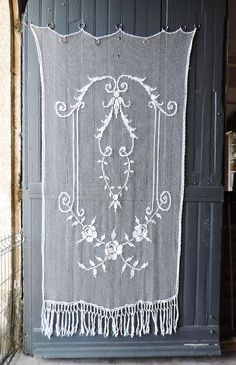 Vintage French Belle Époque fillet lace curtain by Frenchidyll, $95.00