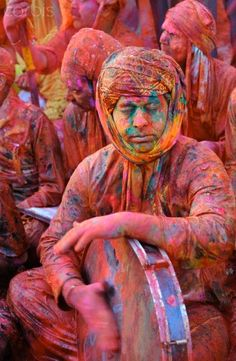 Celebrating the Festival of ColorIndia, Uttar Pradesh, Holi festival, Colour and spring festival celebrating the love between Krishna
