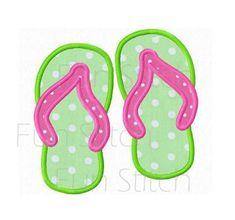 Summer flip flop applique machine embroidery design instant download