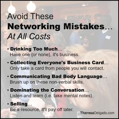You're ALWAYS in a Position to Network Avoid These Networking Mistakes and Watch Your Circle of Influence Grow!  Learn How to Network Like a Pro [A Tutorial for Success] >> http://theresadelgado.com/networking-tips/ #SalesTips #CareerChange #Networking