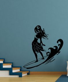 Vinyl Wall Decal Sticker Surfer Hula Girl #1280 | Stickerbrand wall art decals, wall graphics and wall murals.