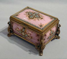 Jewelled enamel and gilt bronze jewellry casket. - Gavin Douglas Antiques