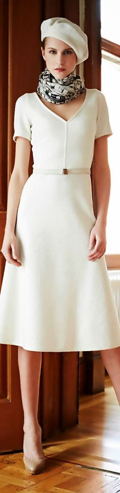 Like the hat, dress length and fit, and winter white.
