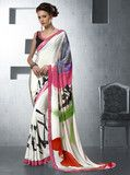 YellowFashion.in — White & black color crepe party wear sarees : neeti collection yf-29928 | Crepe sarees for parties