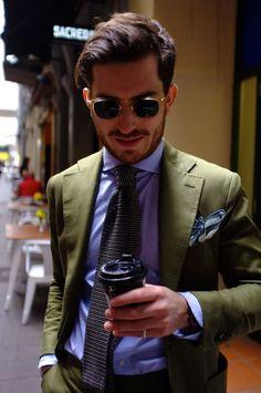 "3bdbca327fc christiankimber  "" C.Kimber Pocket Square PJ Roma - Henry Bucks Knit Tie -  Shirt Kamakura Coffee - from a cafe."