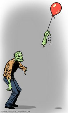 The struggle is real for zombies. Zombie lost his hand while holding the balloon. Zombie Kunst, Arte Zombie, Zombie Art, Funny Zombie, Zombie Pics, Graffiti Tattoo, Graffiti Art, Jasper Johns, Theme Halloween