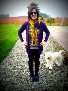 Black jeans and boots, striped top, purple cardigan Jeans And Boots, Black Jeans, Purple Cardigan, Cool Style, My Style, Clothing Styles, Scarf Styles, School Outfits, Style Ideas