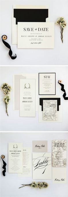 Ivory, Stone and Black Neutral Rustic Wedding Invitation Suite from Champagne Press www.champagnepres...