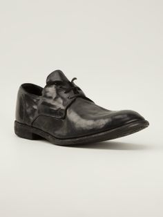 guidi - Lace up Cordovan shoe. Single stack heel, with natural sole.
