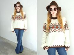 Vintage 70s PULLOVER Oversized Knit Ikat White by MooseVintageLuxe