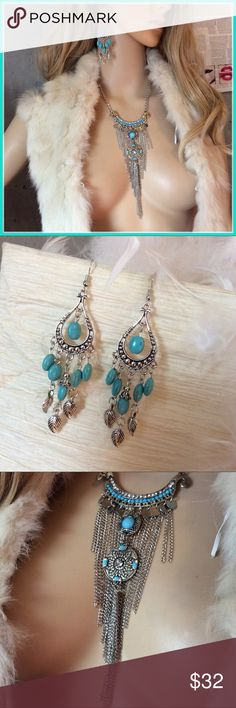 🌺 New 2pc: Boho Tribal necklace & earring set Very beautiful silver and teal Bohemian boho tribal goddess gear.  Turquoise dingle drop earrings and necklace. Just like free people, the whole Gypsy sisters and spell and the gypsy collective.  NWOT Jewelry Necklaces