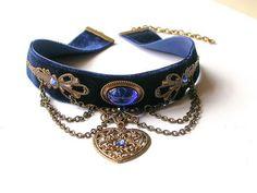 Blue Velvet Choker Pendant Blue Choker Necklace. Women's Jewelry.  <3 @benitathediva