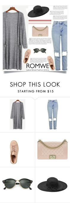 """""""Romwe contest"""" by mell-2405 ❤ liked on Polyvore featuring Topshop, Chanel, Ray-Ban and Fits"""