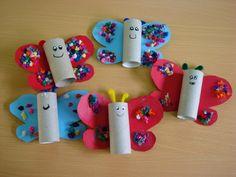Más de 20 manualidades con rollos de papel higiénico: Animales + Tutoriales – Imagenes Educativas Kids Crafts, Arts And Crafts, Paper Crafts, Rolled Paper Art, Butterfly Crafts, Toilet Paper Roll, Diy For Kids, Decoupage, Activities
