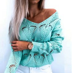 Cheap Sweaters, Long Sweaters, Sweaters For Women, Knit Sweaters, Knit Fashion, Knit Patterns, Crochet Clothes, Pulls, Long Sleeve Sweater