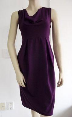 simple - Aubergine Purple Dress Tulip Pleated Dress Cowl by CASTCOUTURE, $79.90