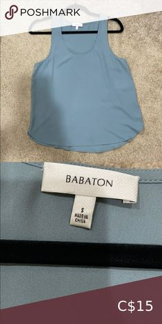 Babaton Tank Top Pretty muted blue colour. Babaton Tops Tank Tops Grey Boots, Sleeveless Shirt, Sweater Jacket, Athletic Tank Tops, Colour, Pretty, Closet, Blue, Things To Sell