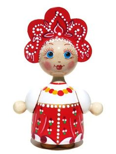 Katyusha is a handmade Russian wooden doll. She wears traditional red Russian Sarafan dress and a matching kokoshnik head piece. Available in limited quantities.