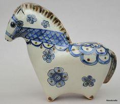 Tonala Mexican Art Pottery Figurine Horse Signed Ken Edwards Mexico