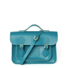 13 Inch Batchel with Magnetic Closure - Aqua – The Cambridge Satchel Company UK Store Pack Your Bags, Leather Skin, Cambridge Satchel, Embossed Logo, Briefcase, You Bag, Satchels, Color Inspiration