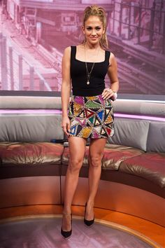 Just a friendly reminder: Jennifer Lopez was 44 when this photo was taken. But the gorgeous singer rocked a black tank top and colorful mini -- both by Fausto Puglisi -- which showed off her stems at BET on June 18, 2014. She also added a slightly messy ponytail and major hoop earrings to complete her youth-inspired ensemble.