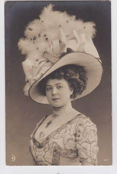 Vintage 1910s Edwardian Beauty in Superb Fashion Hat Photo Postcard E086 | eBay