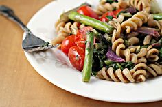 Roasted Asparagus and Tomato Pasta Salad with Goat Cheese {eat.live.be ...