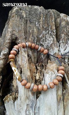 Tibetan Buddhist Japa Mala Rosary 43. Rosewood  yoga by Samayana