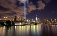1 World Trade Center, Brooklyn Bridge, New York, night, skyscrapers, lights, USA