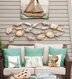 I love how the colored pillows tie in the print- then the accent pillows are plain white with a little pattern