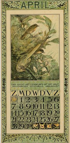 Bird Calendar: April 1907, by Theodoor van Hoytema (1863–1917). Published by Tresling and Co