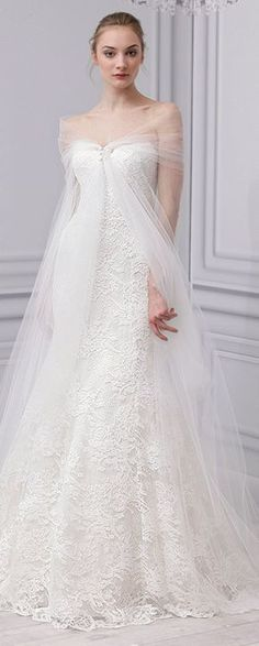 Tulle and lace wedding dress/wedding gown Dan & Corina Lecca Photography, Monique Lhuillier, Spring 2013
